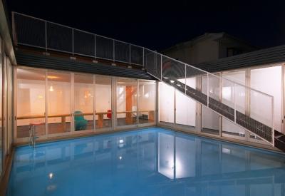 水庭の夕景 (水庭の家)