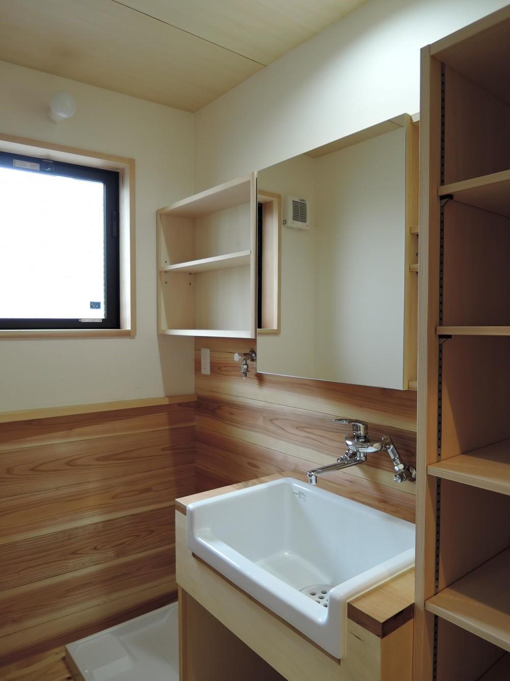 密集地の明るい機能的な家 (洗面所)