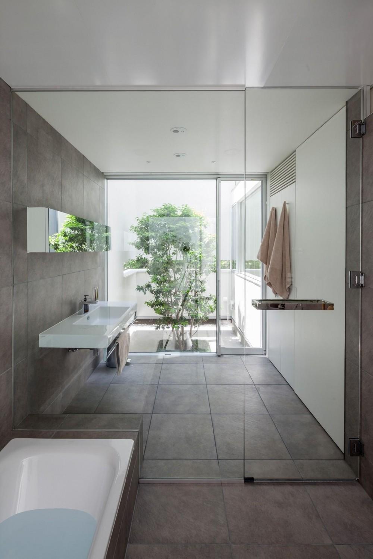 立体市松壁の家 (洗面室)