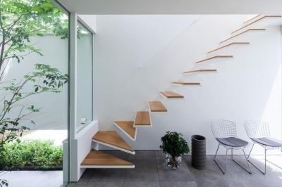 立体市松壁の家 (階段)