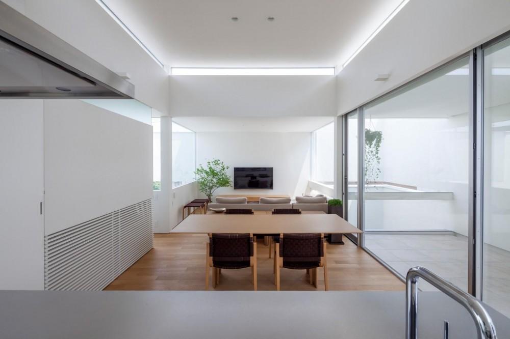 立体市松壁の家 (インナーテラスと一体感のあるリビング)