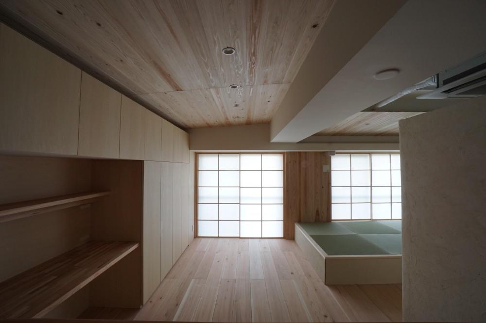 木のマンションリノベーション (リビング)