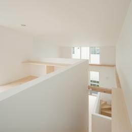 House F (2〜3階階段よりLDK上部吹抜けを見る)