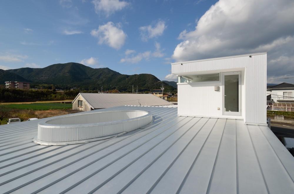 湧水町の住宅 (屋根から2階音楽室を見る)