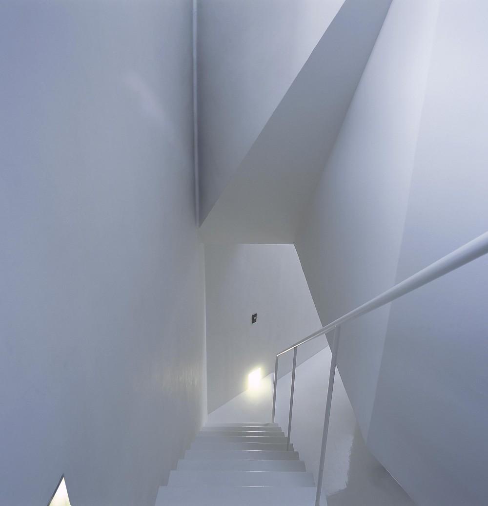 宇宿の住宅 (階段からリビングを見下ろす)