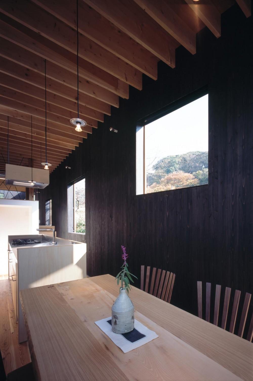 路地に沿う、北鎌倉の超細長い家 (ピクチャーウィンドウのダイニングキッチン)