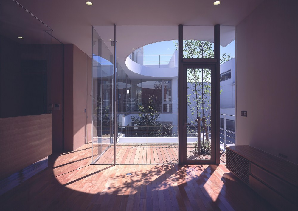 薬師の住宅 (リビングより中庭方向を見る)