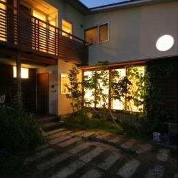 関屋大川前の家 (外観-夜景)