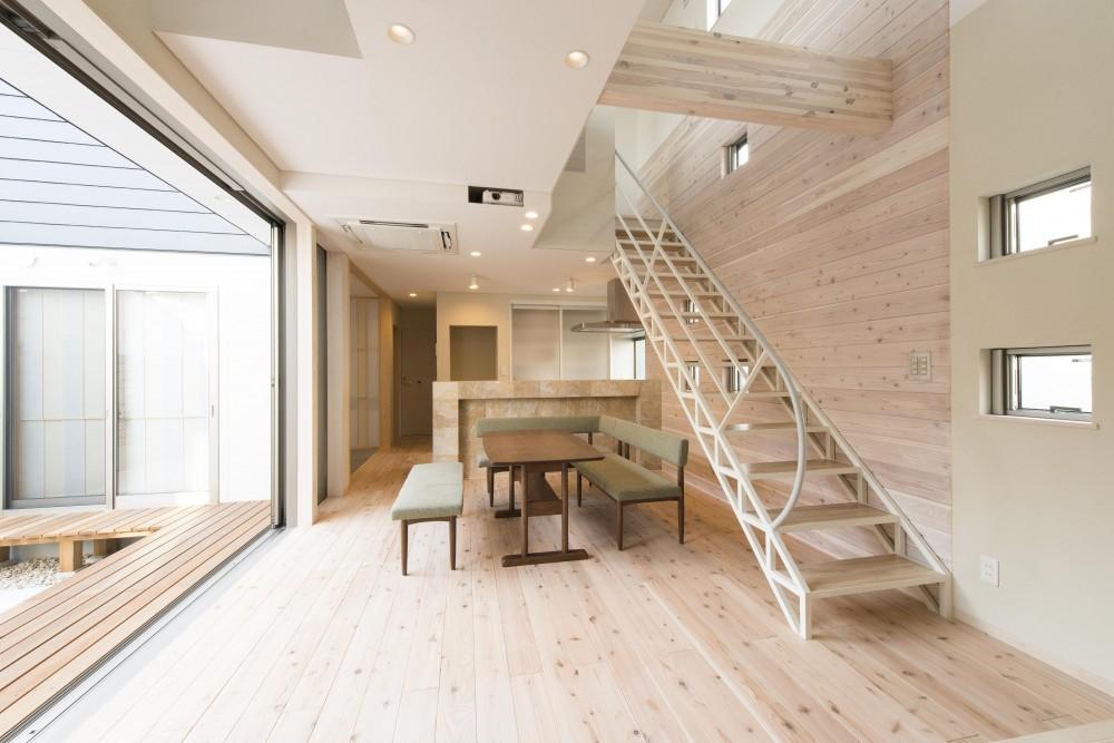 オープンエア(開放感にあふれる戸外とのつながり)を楽しむ家 (LDK)
