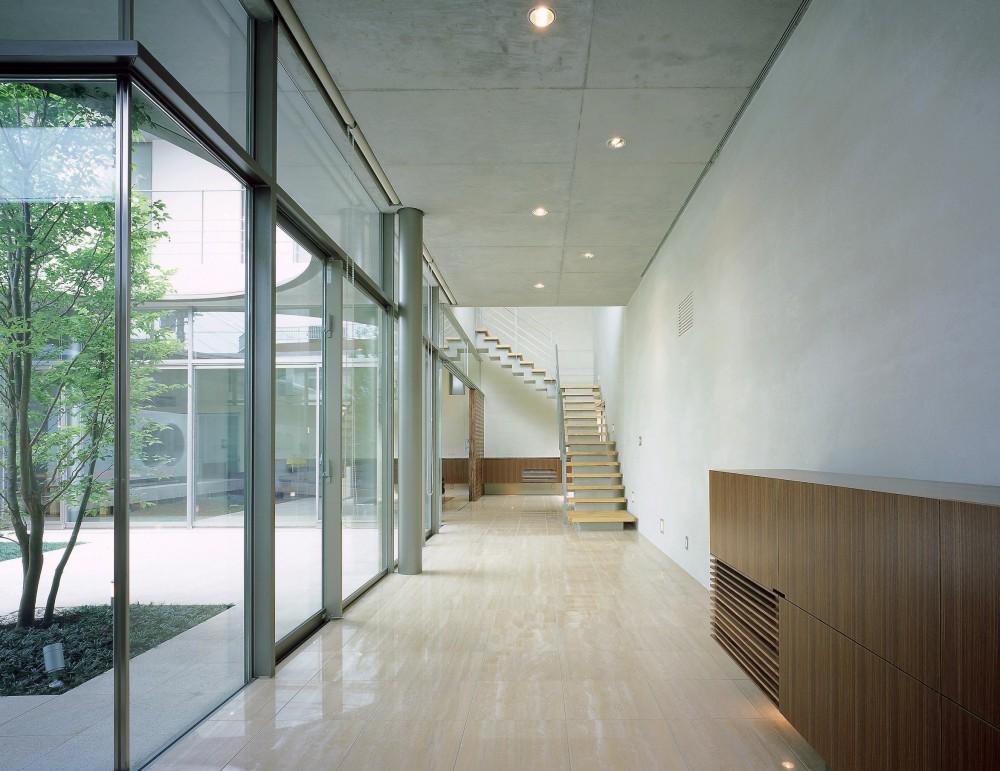東谷山の住宅 II (中庭に面するギャラリー兼、玄関ホール)