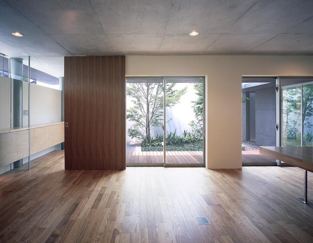 東谷山の住宅 II ((親世帯)リビングより中庭を見る)