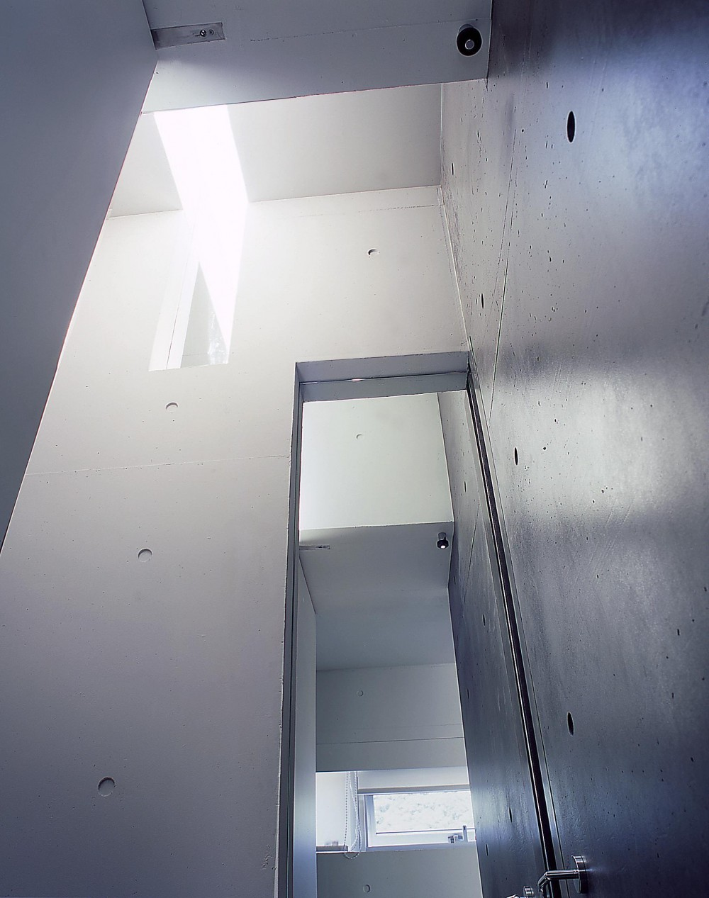 中山の住宅 (トイレのトップライトを見上げる)