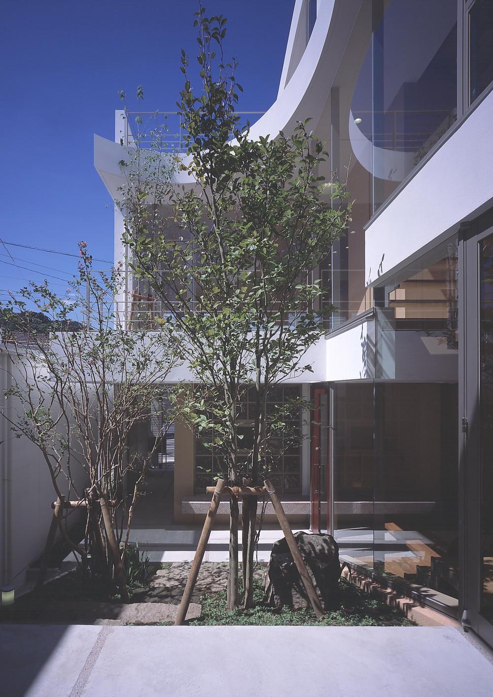 薬師の住宅 (中庭から玄関方向を見る)