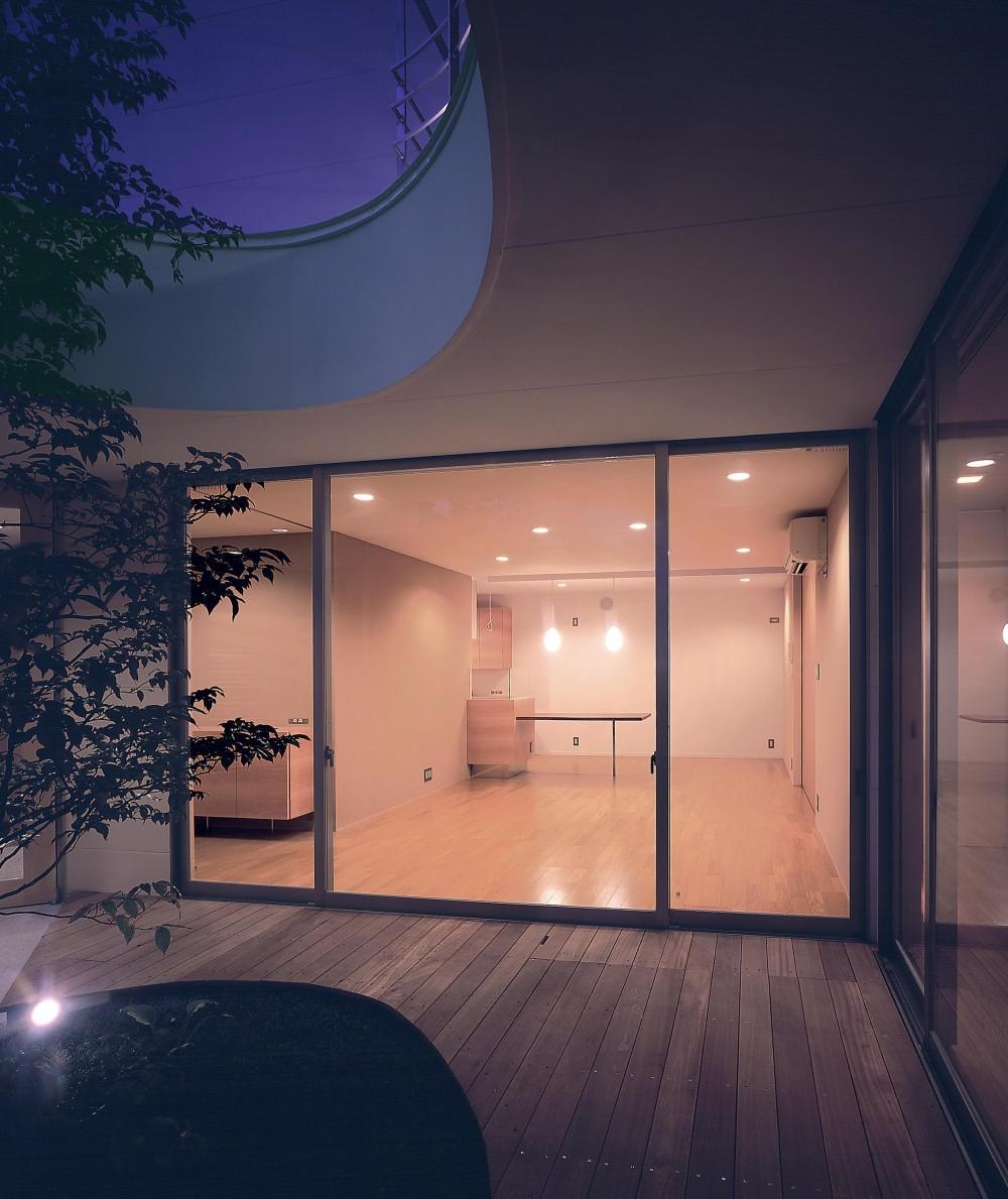 薬師の住宅 ((親世帯)中庭よりリビング方向を見る・夜景)