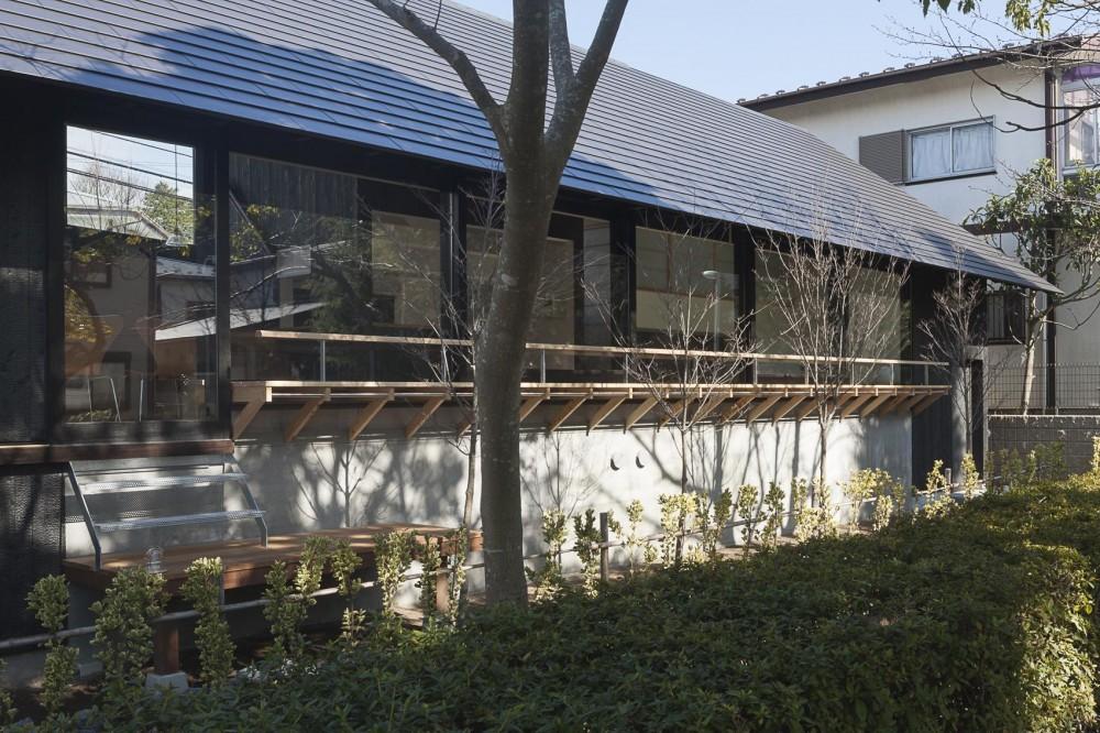 緑道に開かれた深庇と縁台のある家 (深庇と縁台)