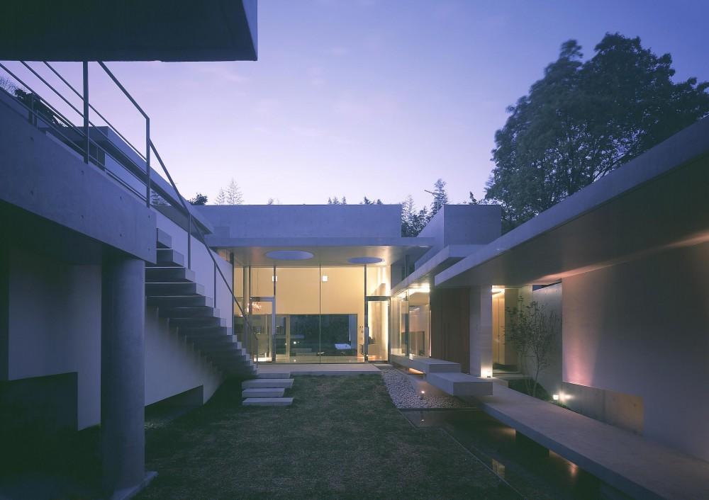 長田町の住宅 (中庭よりリビング方向を見る・夜景)