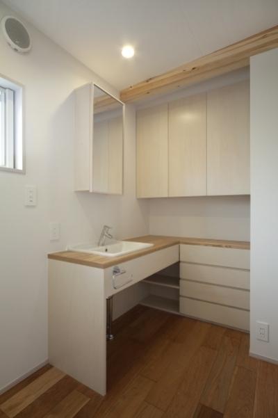 洗面スペース (空気集熱ソーラーのある二世帯住宅)
