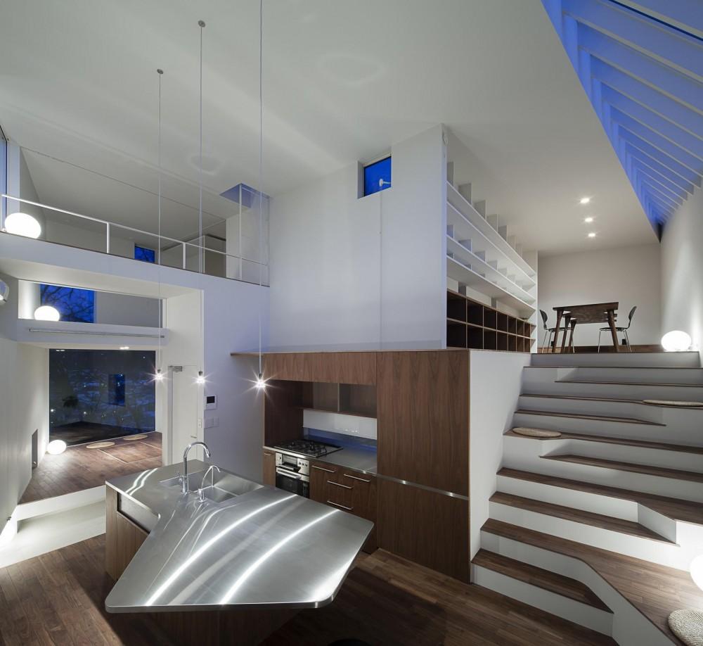 ギャラリーとスモールオフィスが同居した住居 (料理教室も出来るアイランドキッチンと階段リビング)