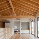 (東京都あきる野市)秋川の3段崖地の家/A棟/B棟の写真 (A棟)親世帯の家リビング 平屋