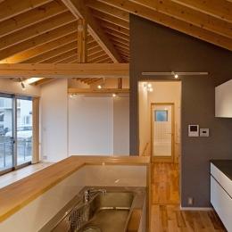 (A棟)寝室からキッチン系由で洗面所、浴室に一直線で動線をつなげる