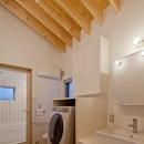(東京都あきる野市)秋川の3段崖地の家/A棟/B棟の写真 (A棟)パウダースペース.隣接してハーフユニットの浴室