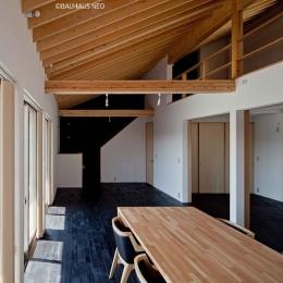 (B棟)食堂から見たリビング.奥にA棟とをつなぐ勝手口と階段