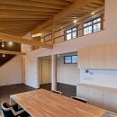 (東京都あきる野市)秋川の3段崖地の家/A棟/B棟の写真 (B棟)食堂のテーブルとキッチンは一体に計画