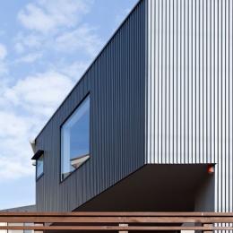 まわる家/愛犬目線でつくる家 (ガルバリウム鋼板の角リブ材を施工した外観近景)