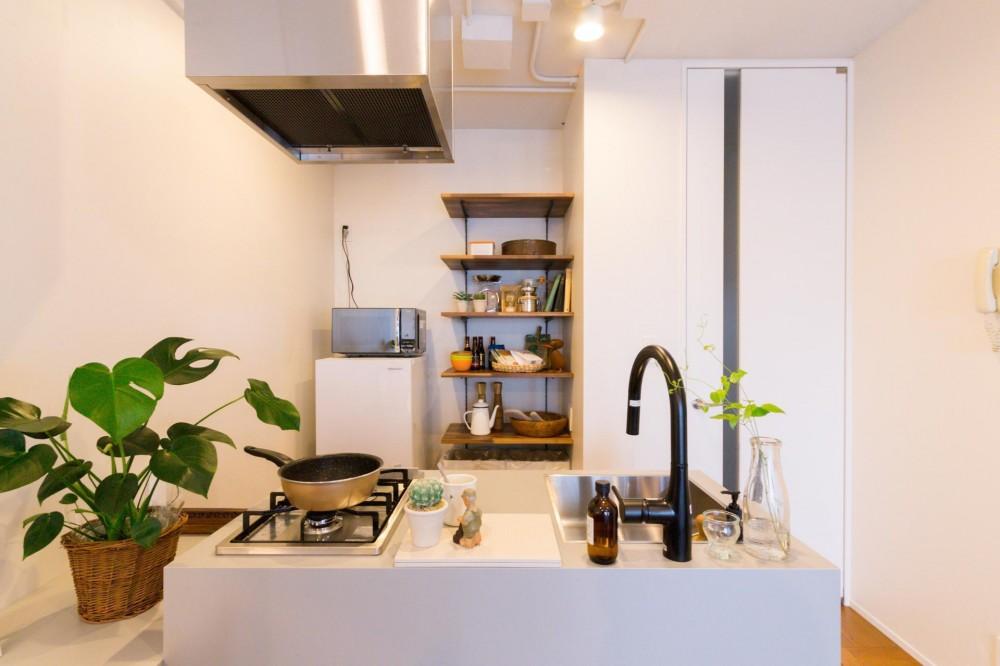 シングルライフを謳歌する眺望重視のリノベーション (シンプルなキッチン)