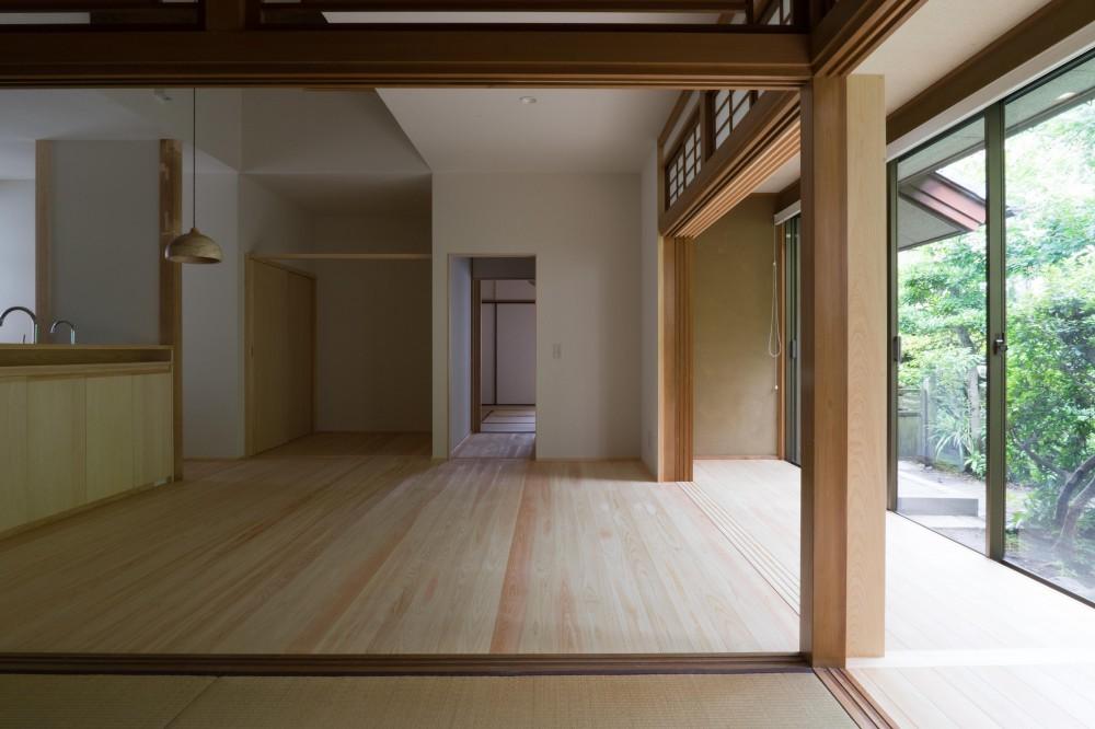 『武蔵境の家』 日本家屋と庭を生かした家族が集う空間へのリノベーション (居間と庭)