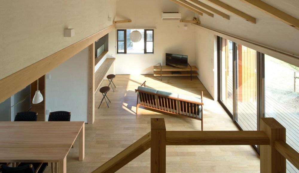 鹿屋の家 (階段踊り場からリビングをみる)