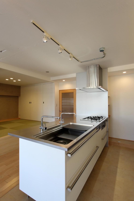 家族がゆるやかに繋がる畳の小上がりがある家 (キッチン)