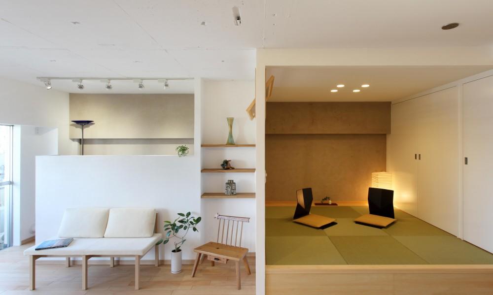家族がゆるやかに繋がる畳の小上がりがある家 (リビング)