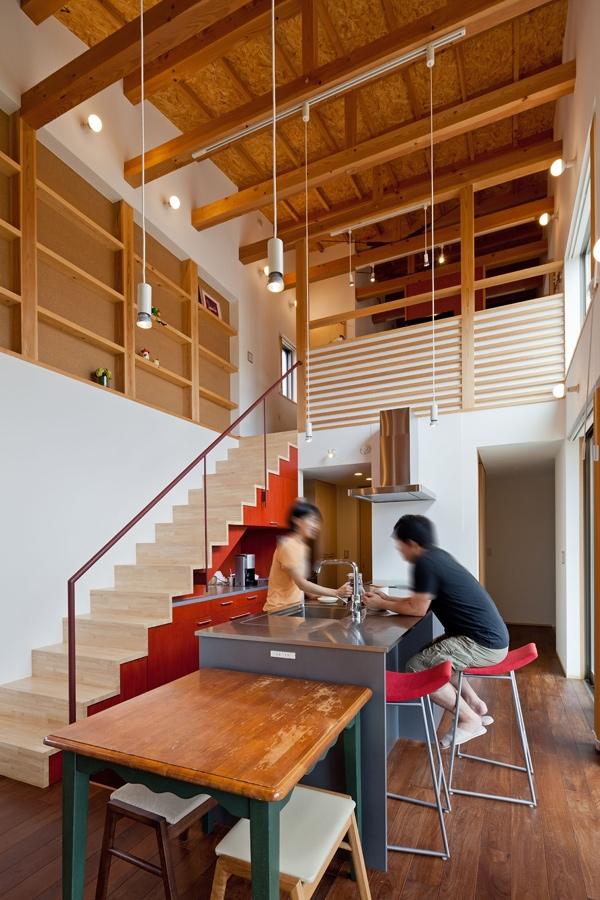 (東京都あきる野市)武蔵増戸のR屋根の家の部屋 アイランドキッチン(製作品)は気どらずに楽しくをテーマに