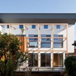 木格子の家/石神井台の二世帯住宅 (敷地延長の駐車場から見る外観)