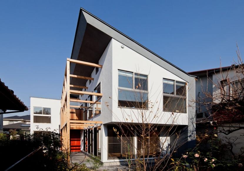 木格子の家/石神井台の二世帯住宅の写真 庭からみた外観