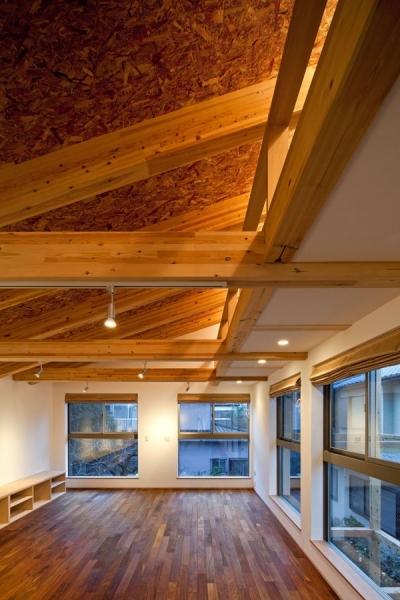 木格子の家/石神井台の二世帯住宅 (2階リビング.壁は漆喰塗り.構造体はSE構法による集成材)