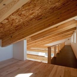 木格子の家/石神井台の二世帯住宅 (ロフト奥にキャットウォークを見る)
