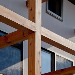 木格子の家/石神井台の二世帯住宅 (不燃認定木材による木格子近景)