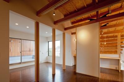 2階は将来を考慮してフレキシブルに使える様に配慮 ((東京都あきる野市)武蔵増戸のR屋根の家)
