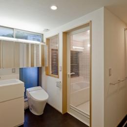 (東京都あきる野市)武蔵増戸のR屋根の家 (学校用の実験流しを採用した洗面スペースと洗濯機置場のあるパウダースペース)
