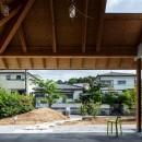 ナガレノイエ ―大きな屋根とテーブルの家の写真 外土間(外リビング兼玄関)