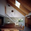ナガレノイエ ―大きな屋根とテーブルの家の写真 3mの大きなテーブルのある土間