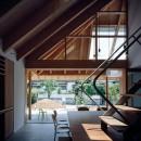 ナガレノイエ ―大きな屋根とテーブルの家の写真 内土間から繋がる外土間と庭