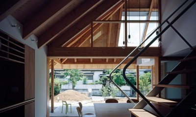 内土間から繋がる外土間と庭|ナガレノイエ ―大きな屋根とテーブルの家
