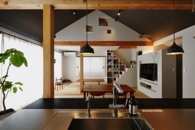 LDK (キッチンからはじまる家族の時間 ~LDKを2階に移動し、勾配天井で広がりのある くつろぎ空間に~)