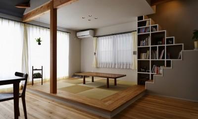 和室|キッチンからはじまる家族の時間 ~LDKを2階に移動し、勾配天井で広がりのある くつろぎ空間に~