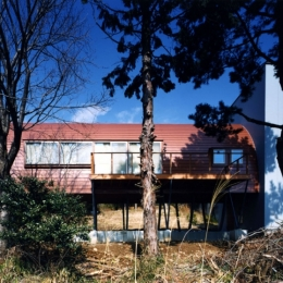 西熱海の陶芸工房のある家 (ゆるやかな斜面の南側からの外観)