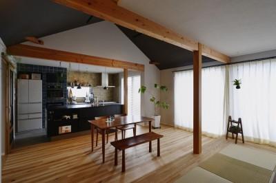 ダイニング・キッチン (キッチンからはじまる家族の時間 ~LDKを2階に移動し、勾配天井で広がりのある くつろぎ空間に~)