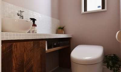 トイレ|キッチンからはじまる家族の時間 ~LDKを2階に移動し、勾配天井で広がりのある くつろぎ空間に~